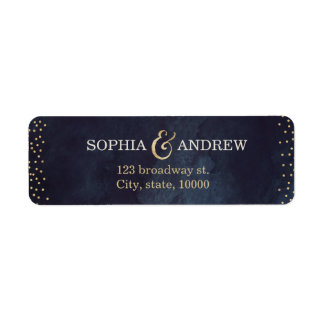 Modern glam night gold glitter return address label