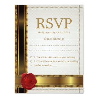 Modern Glamour Golden RSVP Weedding Card