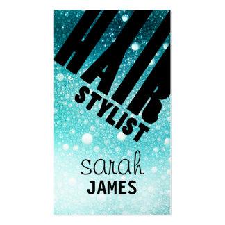 modern glitter blue hairstylist hair stylist business card templates