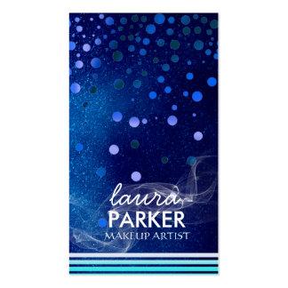 Modern Glitter Bokeh Makeup Artist Blue Double-Sided Standard Business Cards (Pack Of 100)