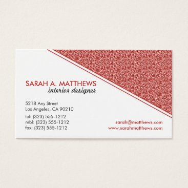 Professional Business Modern Glitter Designer Business Card (coral)