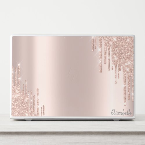 Modern Glitter Drips Rose Gold HP Laptop Skin