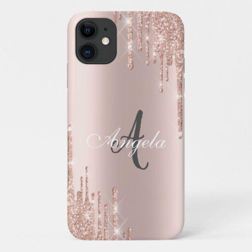 Modern Glitter Drips Rose Gold,Monogram Phone Case