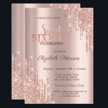 "Modern Glitter Drips Rose Gold  Sweet 16 Invitation<br><div class=""desc"">A modern,  chic and glamorous Sweet 16 with glitter drips on a rose gold background.</div>"