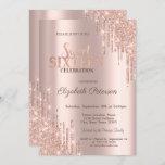 "Modern Glitter Drips Rose Gold  Sweet 16 Invitation<br><div class=""desc"">A modern,  chic and glamorous Sweet 16 with glitter drips on a rose gold background.</div>"