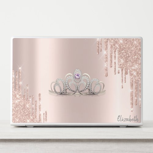 Modern Glitter Drips Rose Gold Tiara HP Laptop Skin