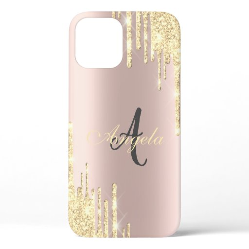 Modern Glitter Gold Drips Rose Gold,Monogram iPhone 12 Case