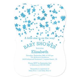 Modern Glitter Little Star Baby Shower Invitation