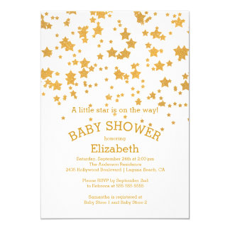 Modern Glitter Little Star Baby Shower Invitation