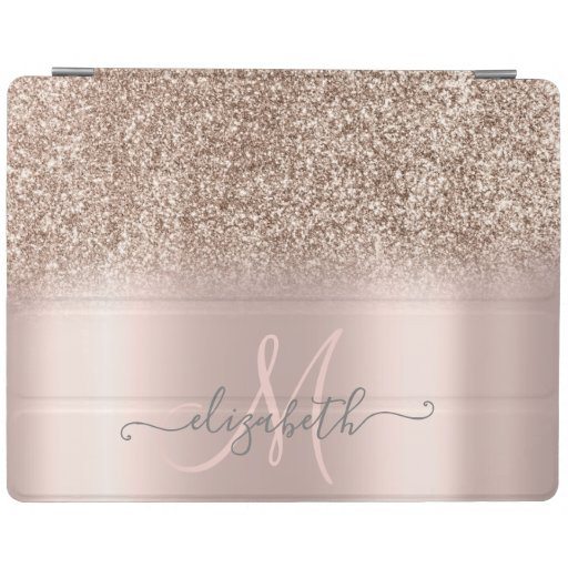 Modern Glitter Ombre Rose Gold iPad Smart Cover