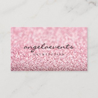 Modern glitter pink rose gold business card