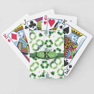 Modern Go Green & Recycle Collage Monogram Bicycle Playing Cards