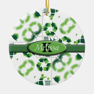 Modern Go Green & Recycle Collage Monogram Ceramic Ornament