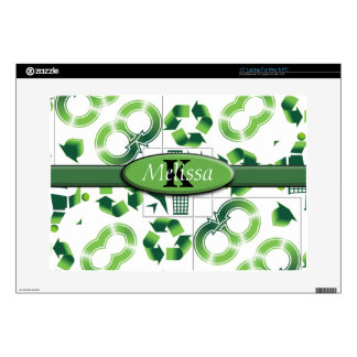 Modern Go Green & Recycle Collage Monogram Laptop Decals