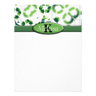 Modern Go Green & Recycle Collage Monogram Customized Letterhead