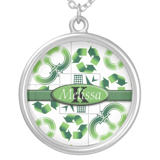 Modern Go Green & Recycle Collage Monogram Silver Plated Necklace