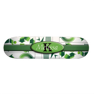 Modern Go Green & Recycle Collage Monogram Skateboard Deck