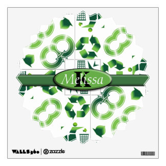 Modern Go Green & Recycle Collage Monogram Wall Sticker