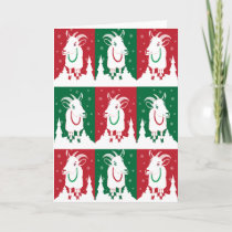 Modern Goats in Holiday Green and Red