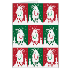 Modern Goats in Holiday Green and Red Card