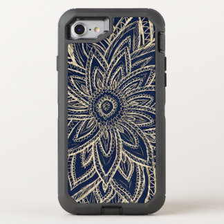 Modern gold abstract flower drawing on black OtterBox defender iPhone 7 case