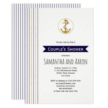 Beach Themed Modern gold anchor stripes nautical wedding shower card