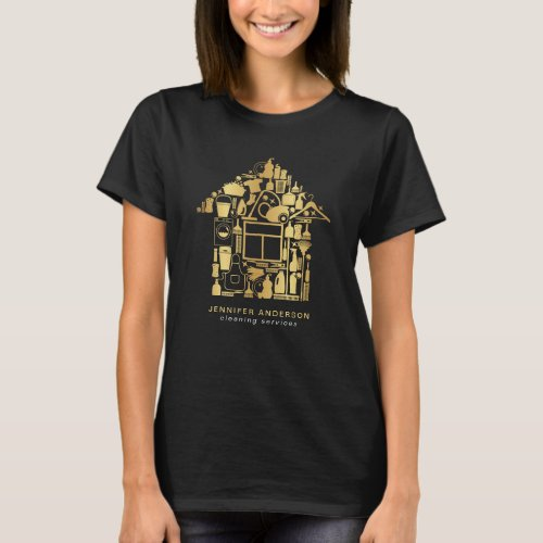 Modern Gold And Black Cleaning Services T_Shirt