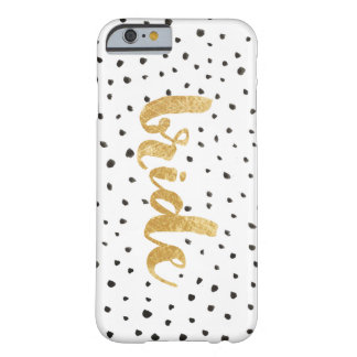 Modern Gold and Black Dots Bride Barely There iPhone 6 Case