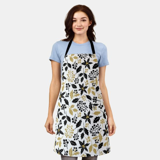 Modern Gold and Black Holly and Mistletoe Apron