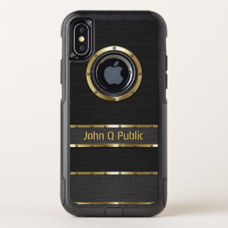 Modern Gold and Black OtterBox Commuter iPhone X Case