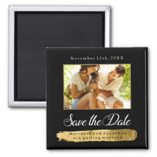 Modern Gold and Black Save the Date Photo Magnet