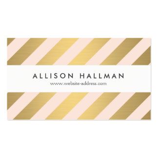Modern Gold and Peach Diagonal Stripes Double-Sided Standard Business Cards (Pack Of 100)