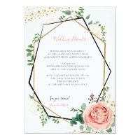 Modern Gold and Pink Geometric Wedding Insert Card