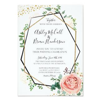 Modern Gold and Pink Geometric Wedding Invite