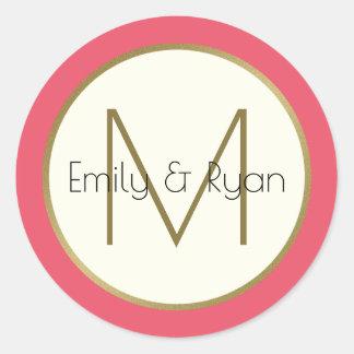 Modern Gold and Pink Monogram Classic Round Sticker