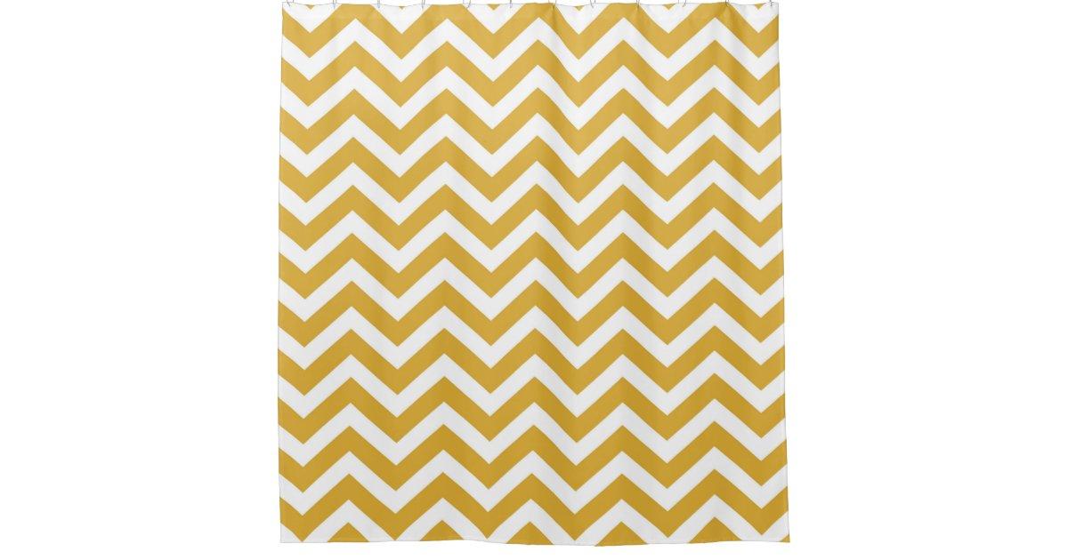 Modern Gold And White Chevron Striped Shower Curtain Zazzle