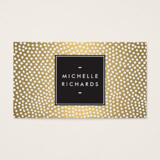 Modern Gold and White Confetti Dots Business Card