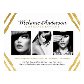 Modern Gold and White Makeup Artistry Comp Card