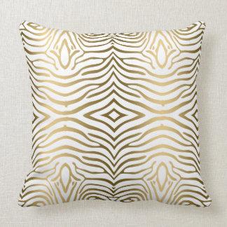 Modern Gold And White Zebra Stripes Throw Pillow