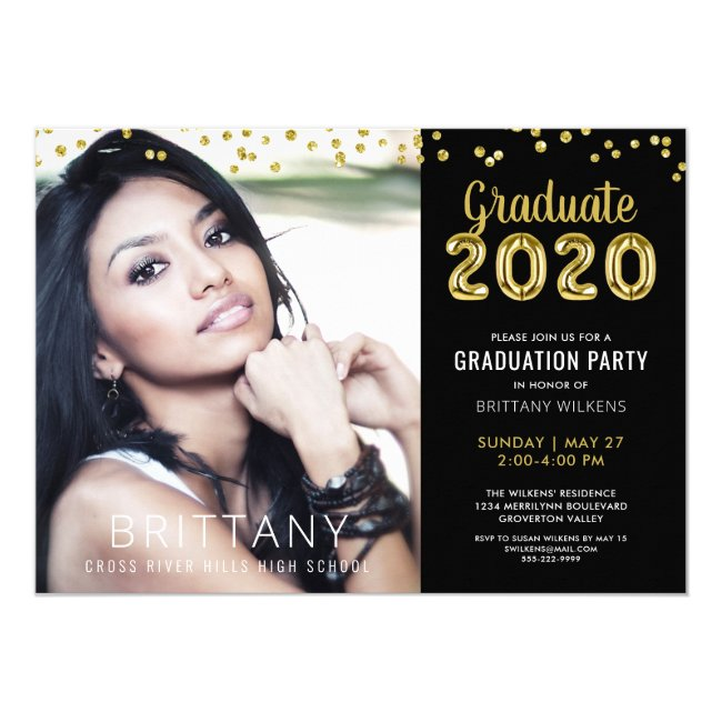 Modern Gold Balloon Number 2020 Black Graduation Invitation