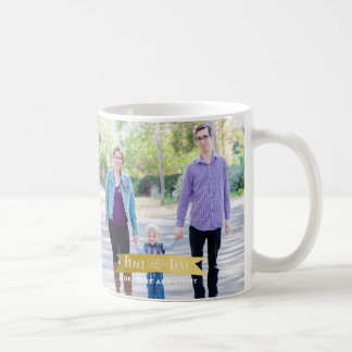 Modern Gold Banner Peace and Joy 2 Photo Coffee Mug