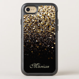 Modern Gold Black Glitter OtterBox iPhone 7 Case