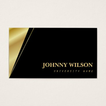 Professional Business Modern Gold & Black Graduate Student Business Card