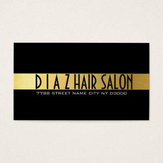 Modern Gold & Black Hair Salon, Stylist Business Card