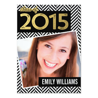 Modern Gold Black Herringbone Photo Graduation Card