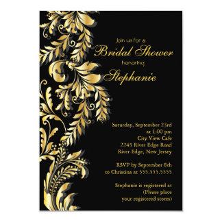 Modern Gold Black Leaf Swirl Bridal Shower Custom Invites