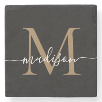 Modern Gold Black Monogram Feminine Script Name Stone Coaster