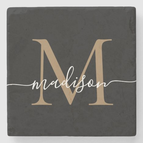 Modern Gold Black Monogram Feminine Script Name Stone Coaster