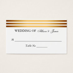 Modern Gold Black Stripes Wedding Table Number Business Card at Zazzle