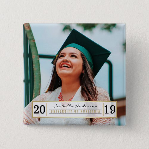 Modern Gold Black  White Graduation Party  Photo Button